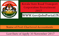 Kerala State Road Transport Corporation Recruitment 2017–Chartered Accountants