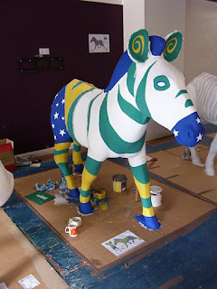 front view Zany zebra WIP
