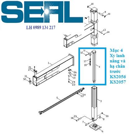 Xy lanh nâng hạ chân trước cẩu Kanglim 7 tấn KS2056-KS2057-H1099944