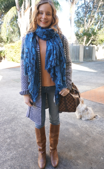 Cosy Winter lots of layers outfit skinny jeans boots wool cardigan