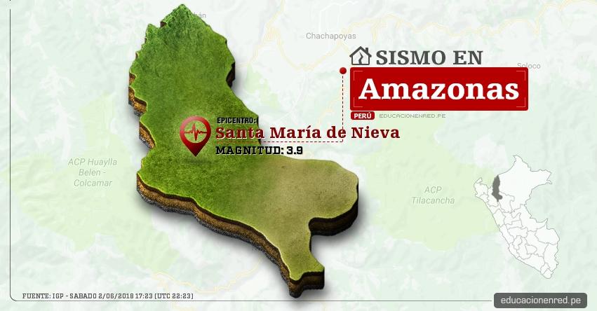 Temblor en Amazonas de magnitud 3.9 (Hoy Sábado 2 Junio 2018) Sismo EPICENTRO Santa María de Nieva - Condorcanqui - IGP - www.igp.gob.pe