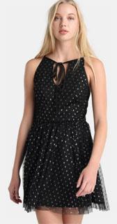 vestido de lurex con tirantes y topos falda de tul 2018