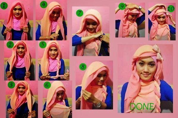 Cara memakai Jilbab Paris Dengan Kombinasi Dua Warna