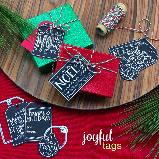 Chalkboard Tags by Jennifer Jackson | Joyful Tags stamp set & Tags Times Two Die Set by Newton's Nook Designs #newtonsnook