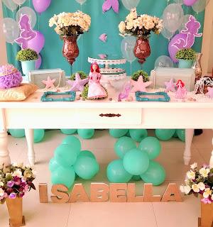 festa infantil Ariel pequena sereia