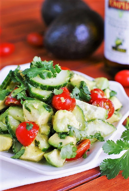 Cucumber, Tomato & Avocado Salad with Citrus and Honey Vinaigrette Image