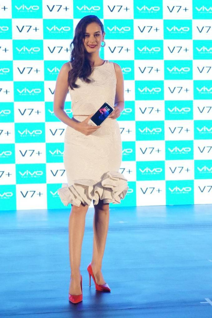Evelyn Sharma In White Dress At Vivo Mobile Launch
