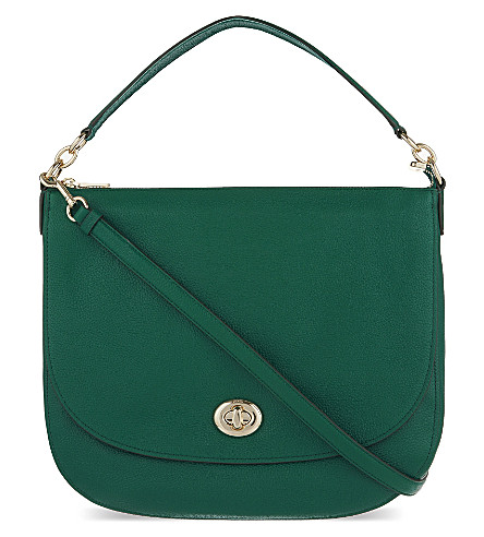 Green Coach Grained Leather Hobo Bag
