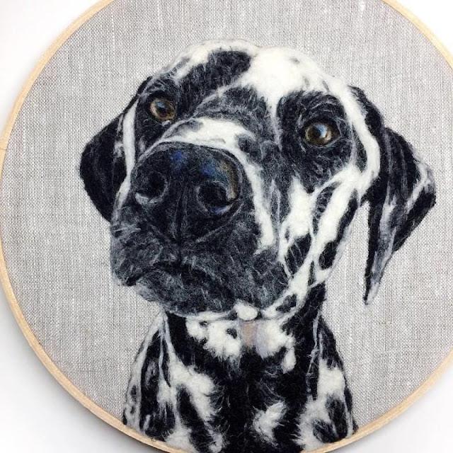 Dani Ives - malowane wełną i igłą. Dani Ives - painting with wool and a needle.