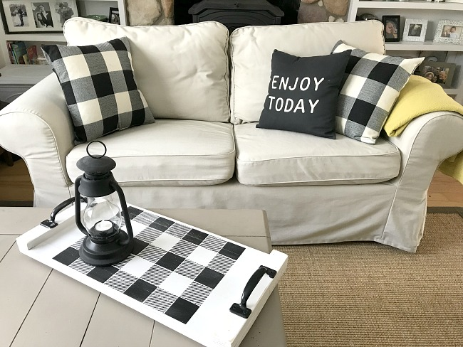 Buffalo Plaid stencil on a DIY rustic tray with buffalo check pillows