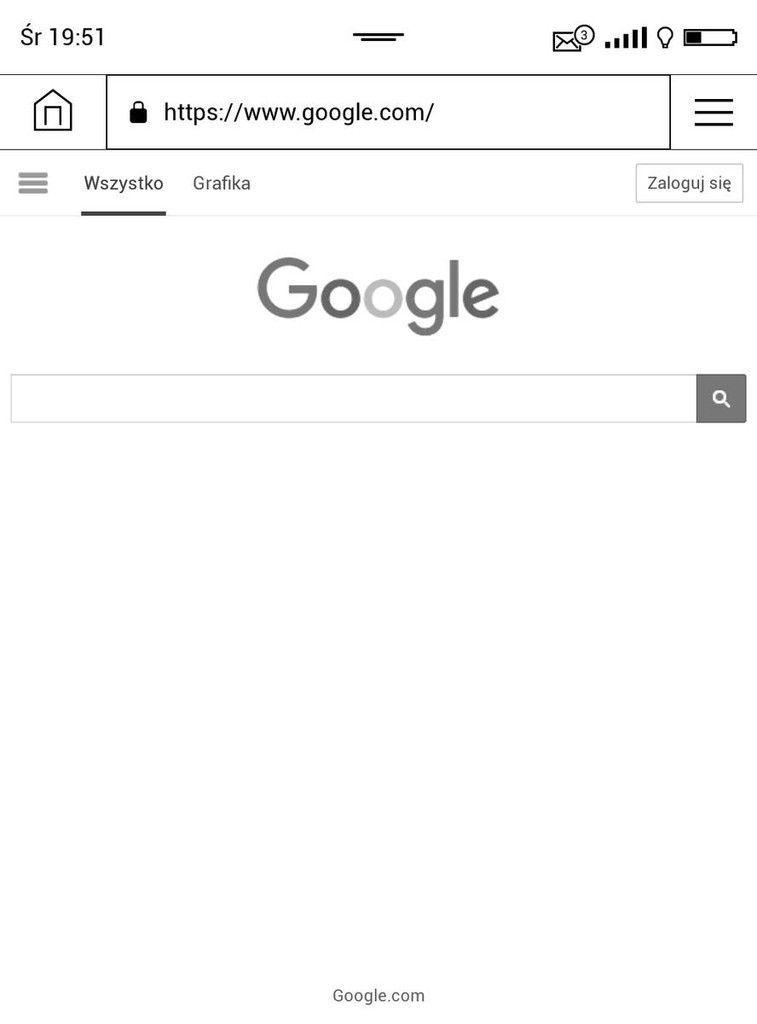 PocketBook Touch HD 3 – strona Google w przeglądarce internetowej