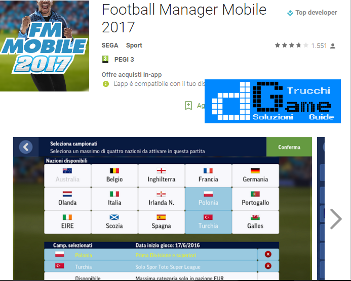 Trucchi Football Manager 2017 Mod Apk Android v8.0