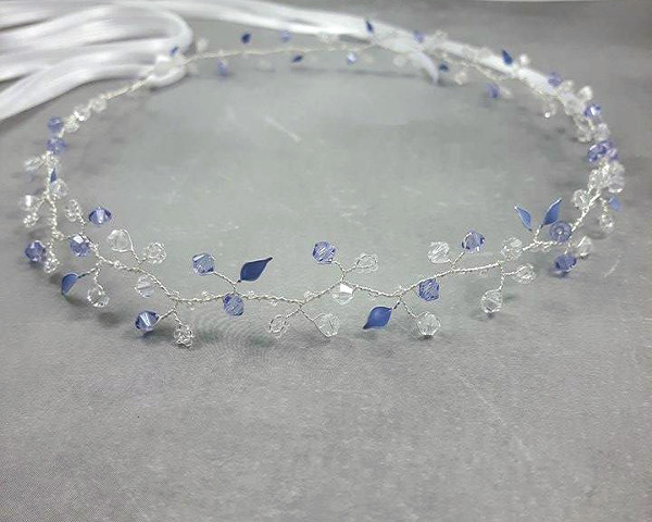 Kryształowy,  niebieski, ślubny wianek biżuteryjny