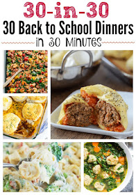30 Back to School Dinners in 30 Minutes...the ultimate meal plan!  30 easy, family friendly, delicious, simple dinners that everyone loves.  Use this meal plan to get orgranized when school starts! (sweetandsavoryfood.com)