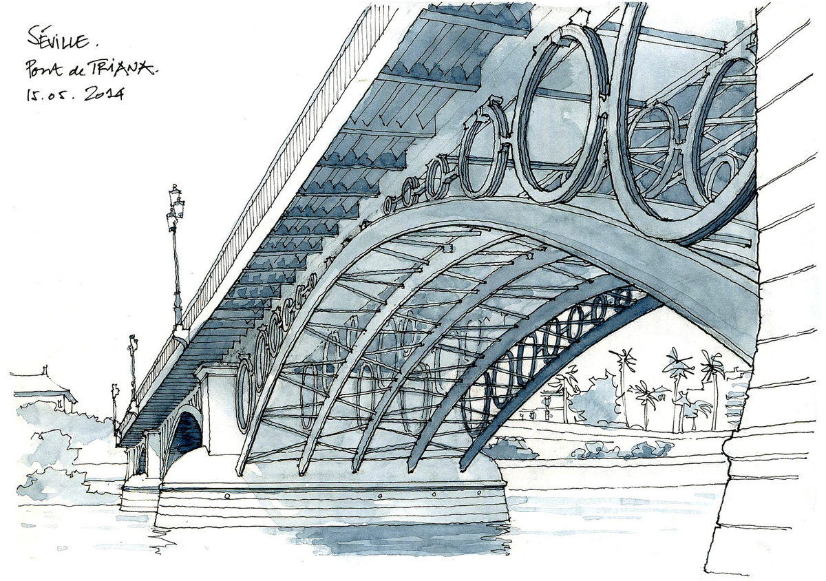 06-Séville-pont-de-Triana-Gérard-Michel-Urban-Architectural-Drawings-from-your-Teacher-www-designstack-co