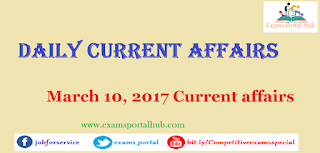Current affairs : March 10th, 2017 for all competitive exams