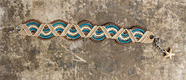 Beaded macrame bracelet with undulating stripes from Knot Just Macrame.