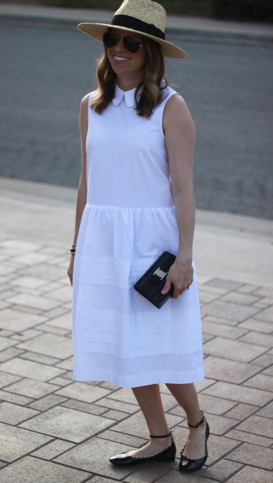 white collared dress