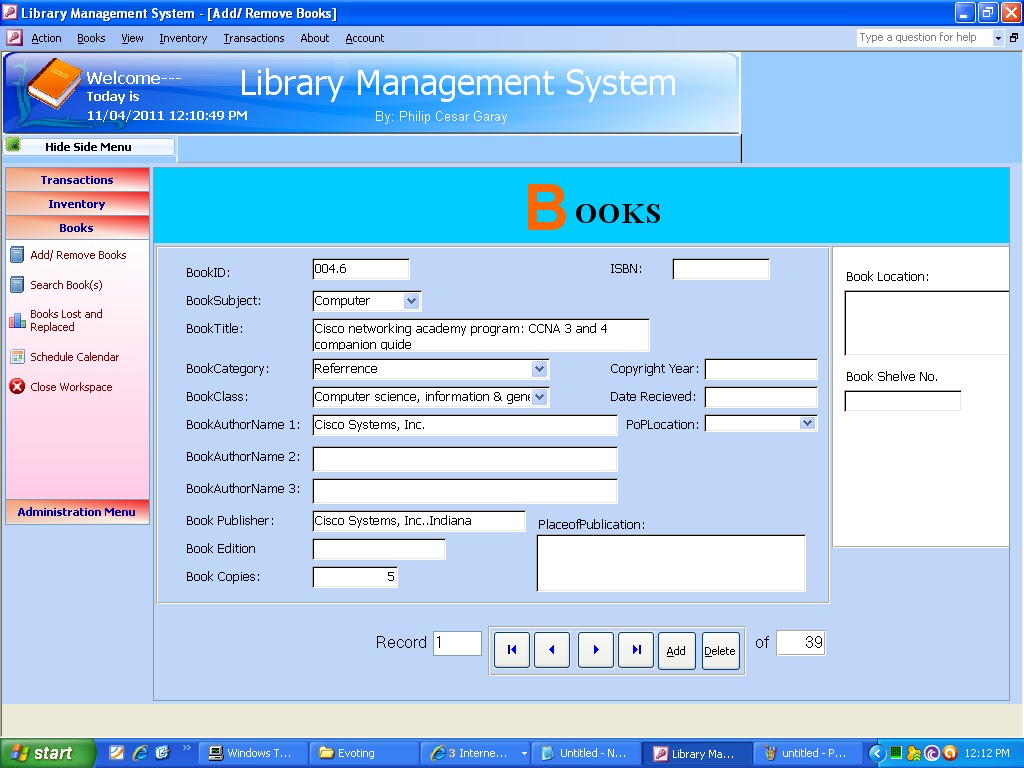 Library mgmt system
