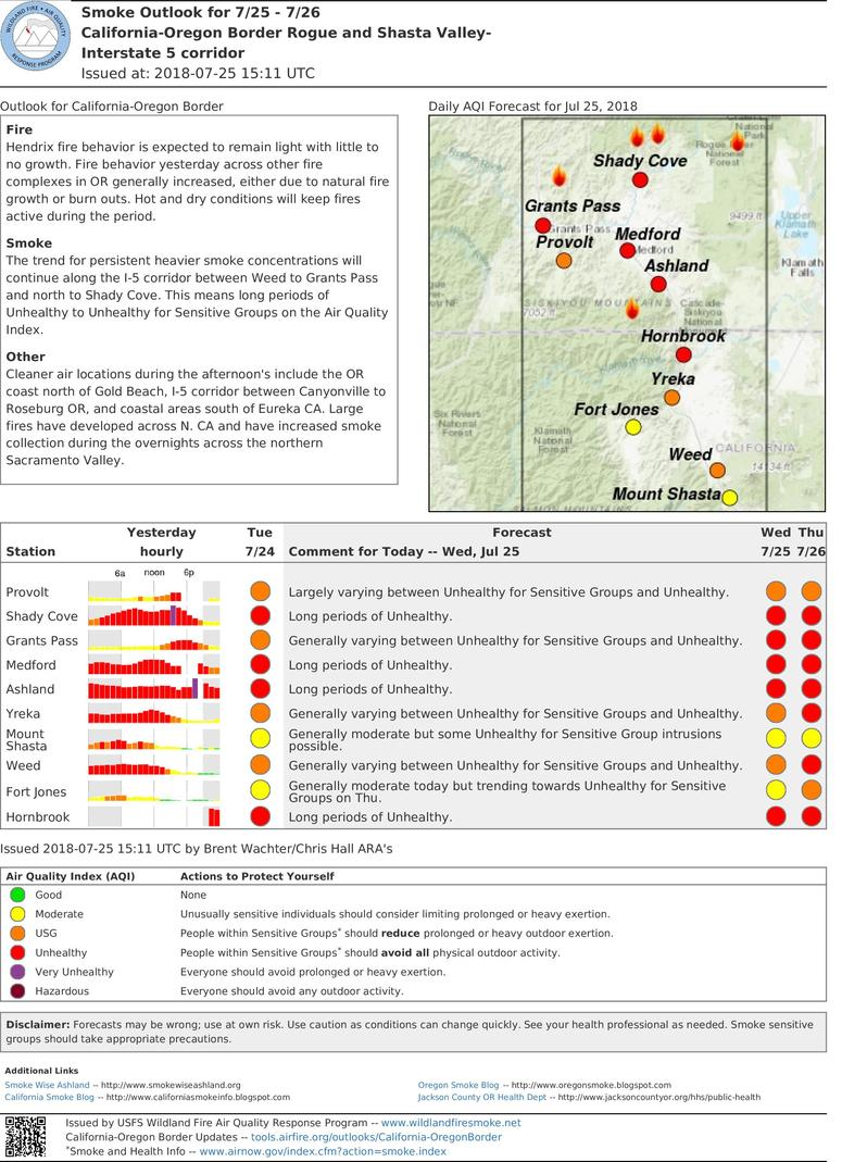 california oregon border fires smoke outlook for wednesday and thursday includes provolt shady cove grants pass medford ashland