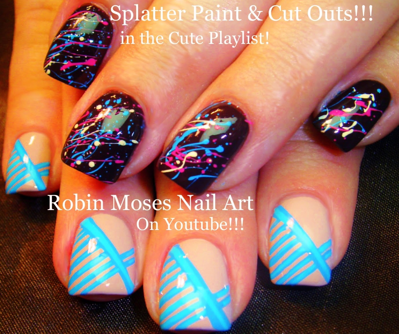 Nail Art By Robin Moses Splatter Paint Nail Art Technique With Blue