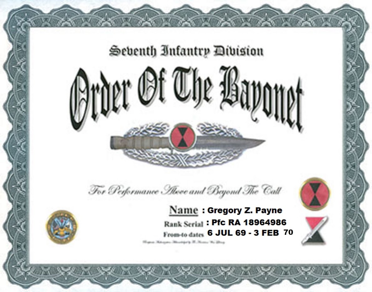 7th  INFANTRY DIVISION (LIGHT) - ORDER OF THE BAYONET AWARD CERTIFICATE