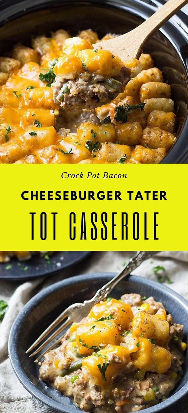 Crock Pot Bacon Cheeseburger Tater Tot Casserole