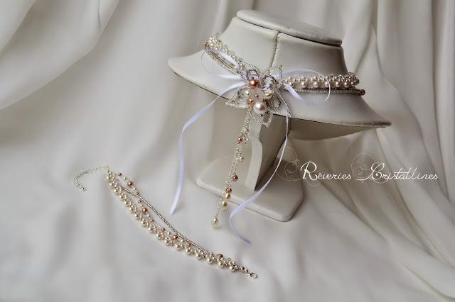 parure tissée pour mariée, blanc et rose gold