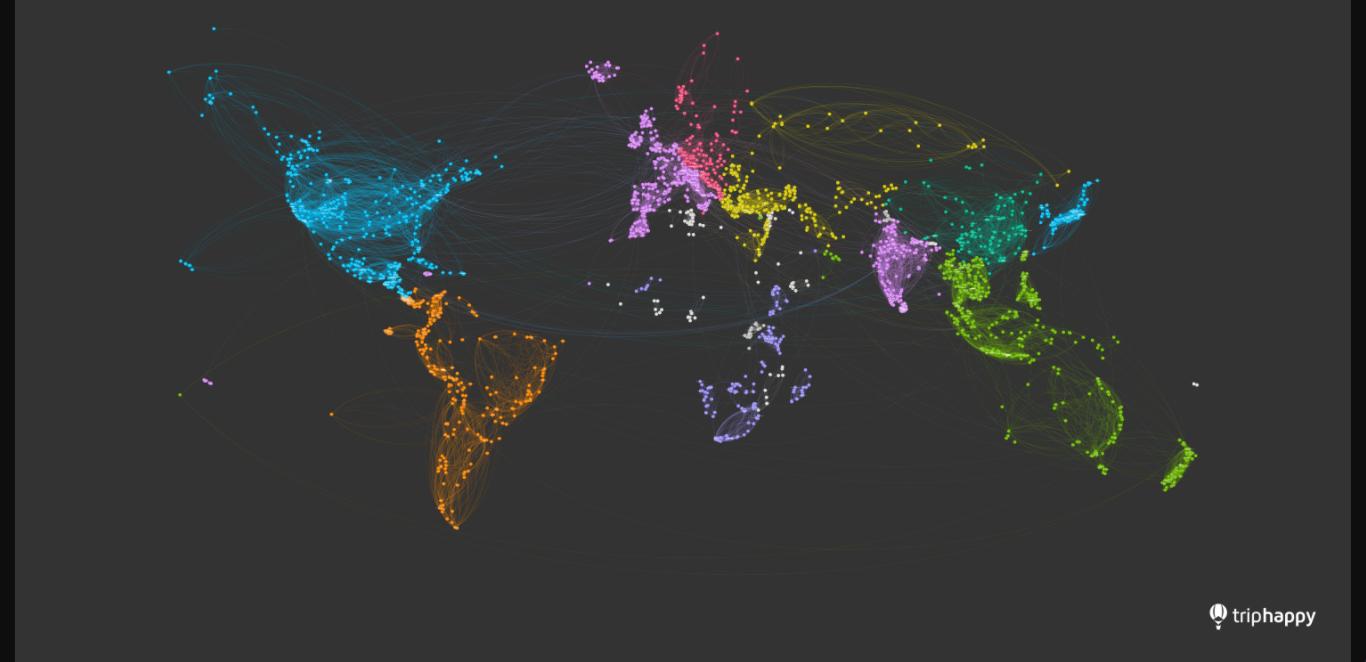 下載這張神奇的美麗世界地圖,用旅人行程足跡畫出來的!