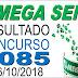 Resultado da Mega Sena concurso 2085 (06/10/2018) ACUMULOU!!!