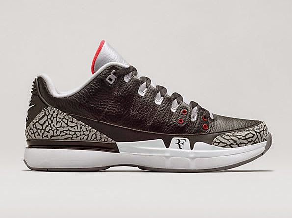 5a93f1fd8d8 Here is the official images of the Nike Court Zoom Air Jordan Black Cement  3 Sneaker available HERE