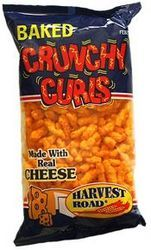 A stock image of Harvest Road Baked Crunchy Curls, in lieu of their Flamin' Crunchy Curls