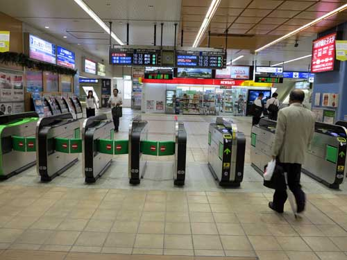 Tsuchiura Station ticket gates.