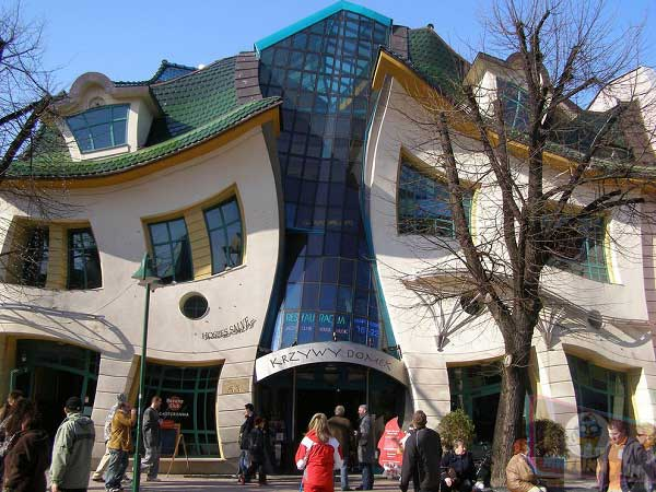 The Crooked House located in Sopot, Poland