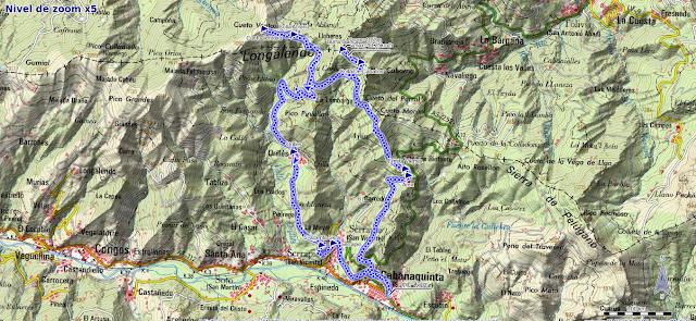 Mapa ruta Burra Blanca y Cueto Ventoso desde Cabañaquinta