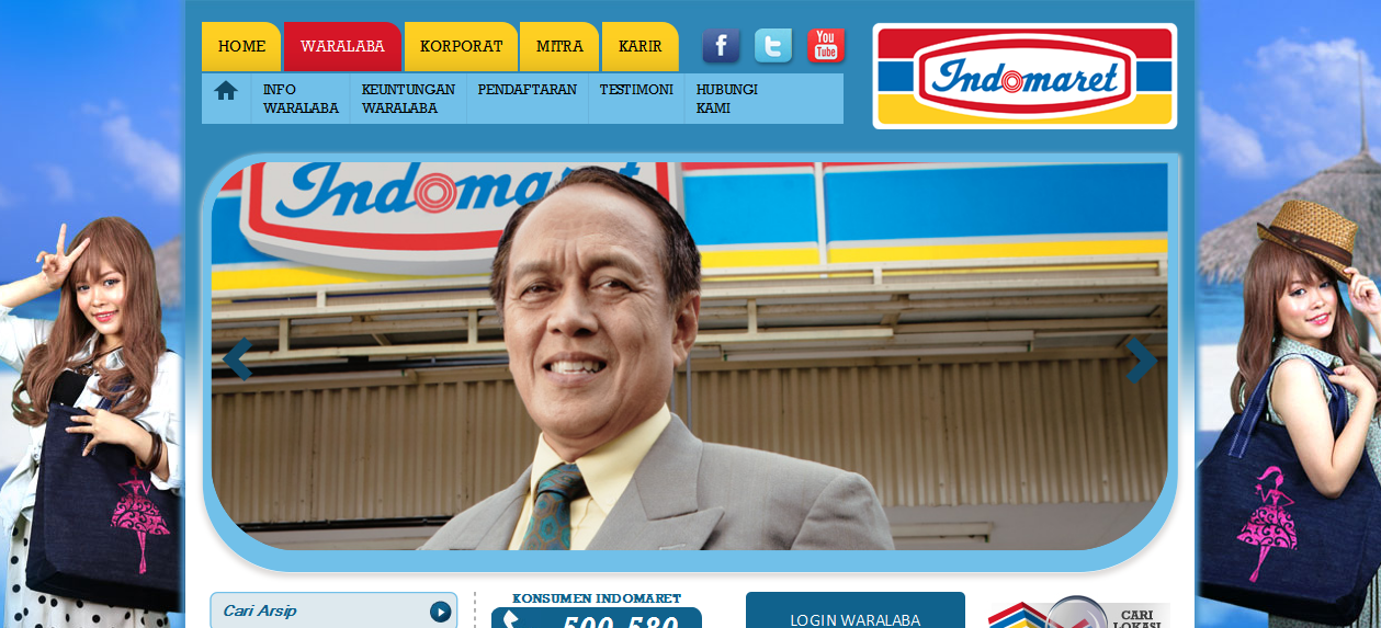 Tampilan website indomaret