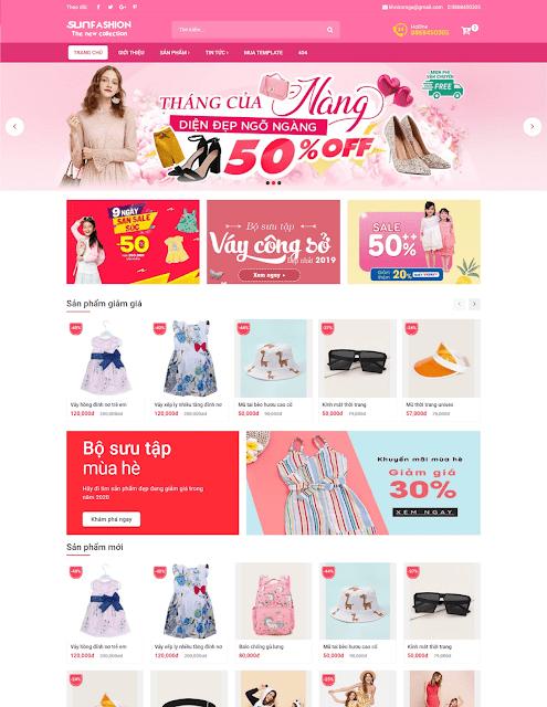 Mẫu giao diện blogspot bán hàng SunFashion