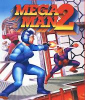 Portada de Mega Man 2, un dibujo realmente horroroso del robot azul disparando hacia un enemigo bastante más guapo que él...