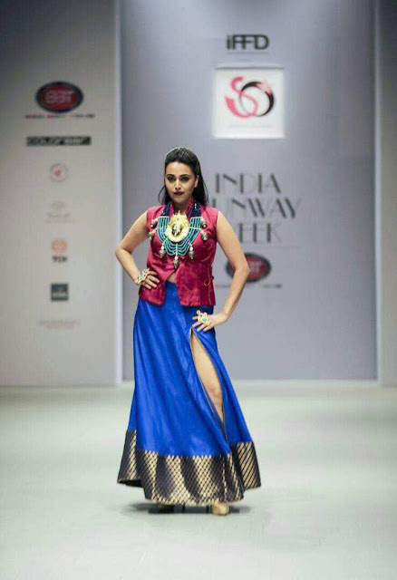 Actress Swara Bhaskar in Red by Purva Pardeshi at Indian Runway Fashion week at Delhi