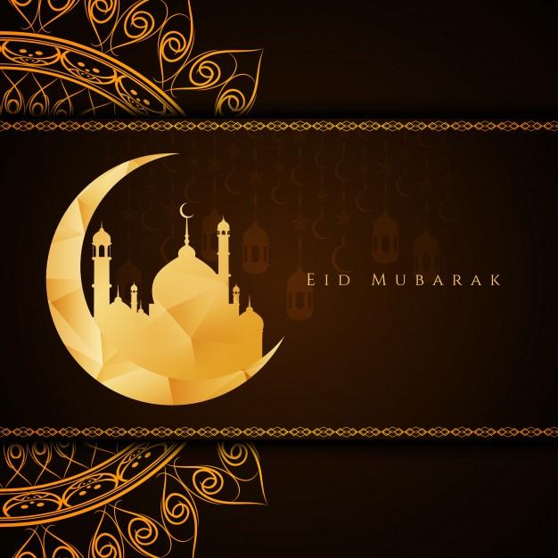Creative religious eid mubarak design Free Vector
