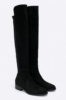 Cizme dama fara toc de iarna, din piele naturala intoarsa negre pana la genunchi la reducere