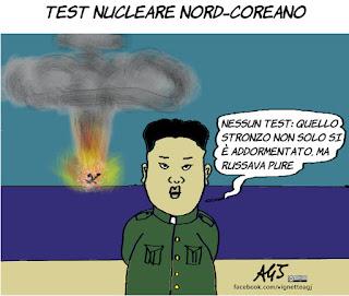 Kim jong un, bomba atomica, corea del nord, test nucleare, addormentato, vignetta, satira