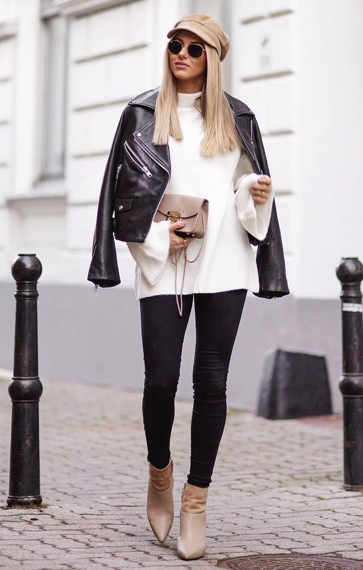 how to style a beige hat : moto jacket + white sweater + skinny jeans + nude boots + bag