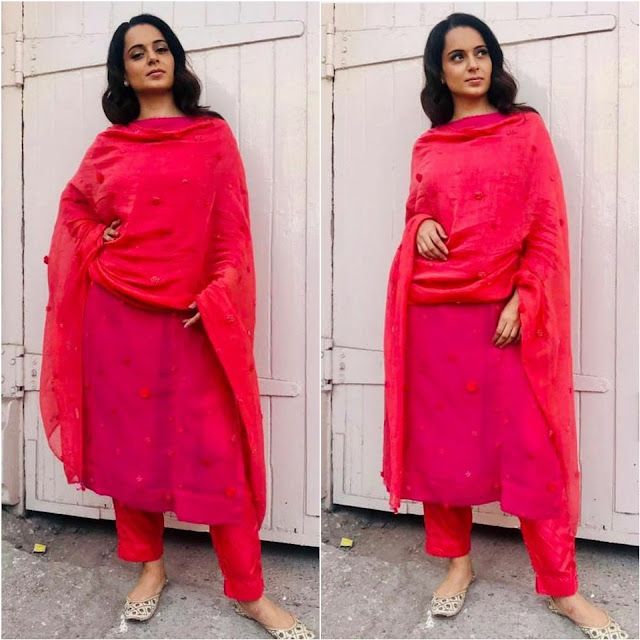 Kangana Ranaut in a Red suit by Pero