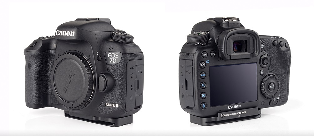 Canon EOS 7D Mk II w/ Sunwayfoto PC-7DIIR fron and rear views