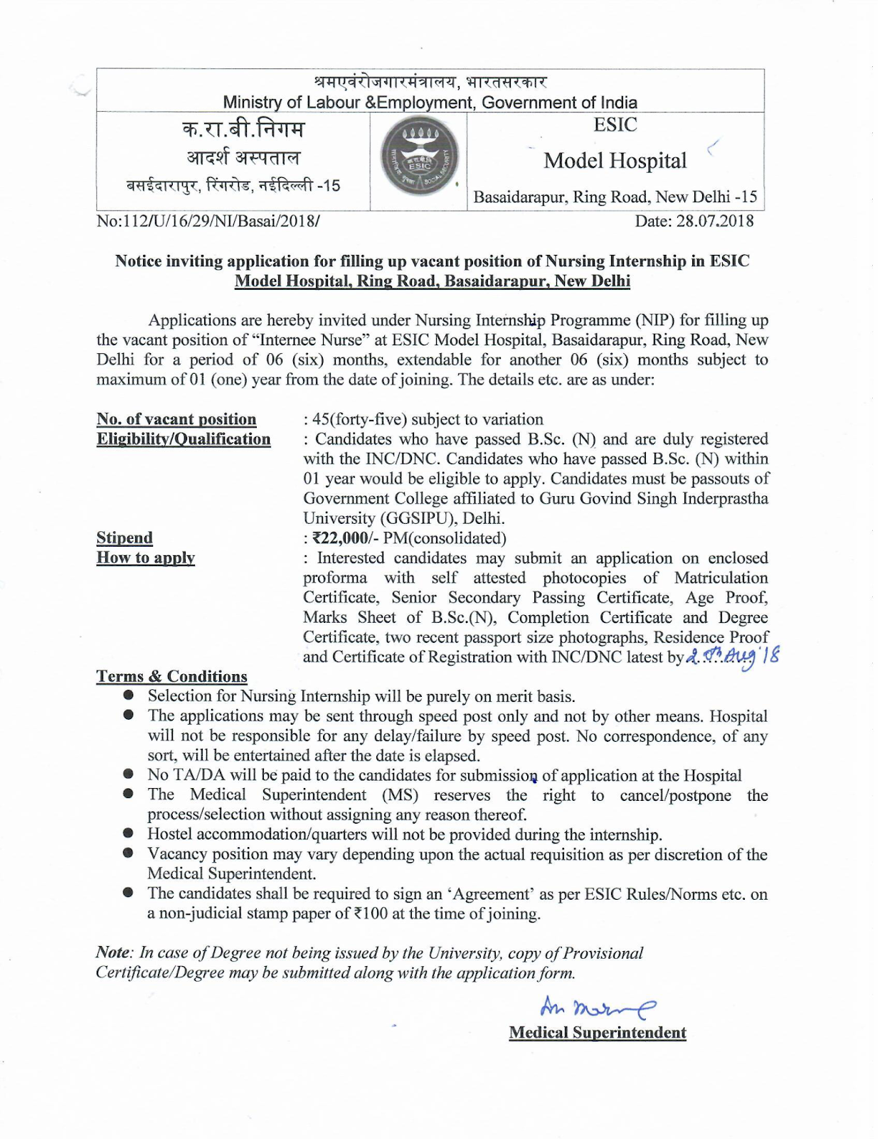 NURSING JOBS: ESIC Staff Nurses Recruitment- 45 Vacancies