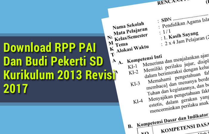 RPP PAI Dan Budi Pekerti SD Kurikulum 2013