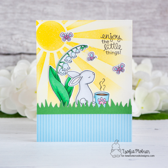 Enjoy the Little Things  | Coffee and bunny Card by Zsofia Molnar | Bitty Bunnies, Little Lilies, and Newton Loves Coffee Stamp Sets with Land Borders and Sunscape Stencil by Newton's Nook Designs #newtonsnook #handmade