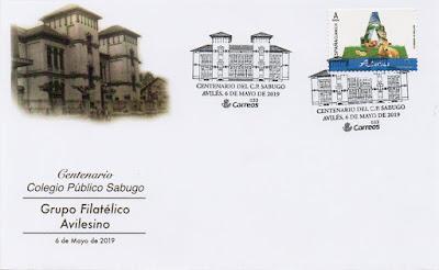 Sobre del matasellos del centenario del colegio de Sabugo en Avilés