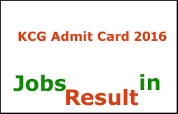 KCG Admit Card 2016